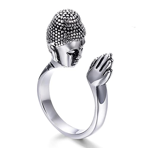 Leiormvses Male Stackable Buddha Ring Meditation Gift Pose Zen Buddhist Ring Stainless Steel Retro Micro Pave Dainty Everyday Calm Adjust Women And Man Indoor Spiritu Al Zen Home Decor Ornament