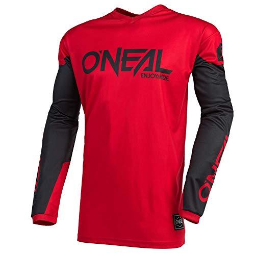 O'Neal | Jersey de Motocicleta | Enduro Motocross | Protección Acolchada para los Codos, Ajuste para una máxima Libertad de Movimiento | Jersey Element Threat | Adultos | Rojo Negro | Talla L