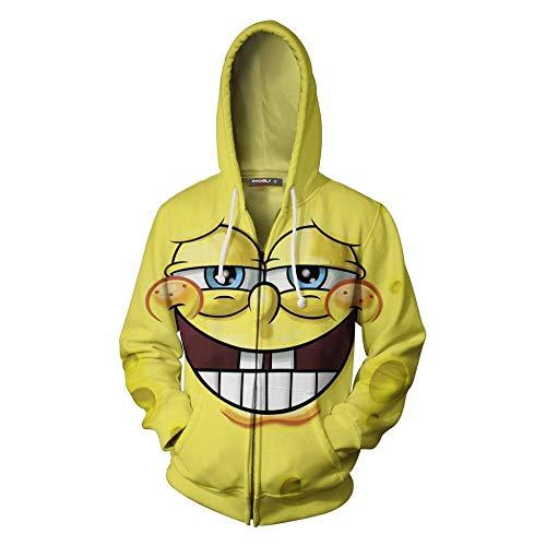 WCYL Pullover Sweatshirts Kapuzenpullover 3D Hd Anime Spongebob Squarepants Zipper Gedruckt Jacke Kapuze Cool Nylon Pullover Unisex Mantel Hoodies Langarm Atmungsaktiv