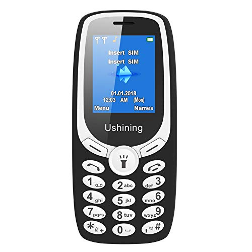 Ushining Teléfono Móvil Basico, Teléfono Móvil para Personas Mayores Teclas Grandes con Tapa Pantalla de 1,8 Pulgadas (Dual SIM, Cámara, Bluetooth, Reproductor MP3) - Negro