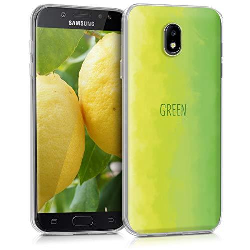 kwmobile Samsung Galaxy J7 (2017) DUOS Hülle - Handyhülle für Samsung Galaxy J7 (2017) DUOS - Handy Case in Verlauf Farbwort Design Hellgrün Grün