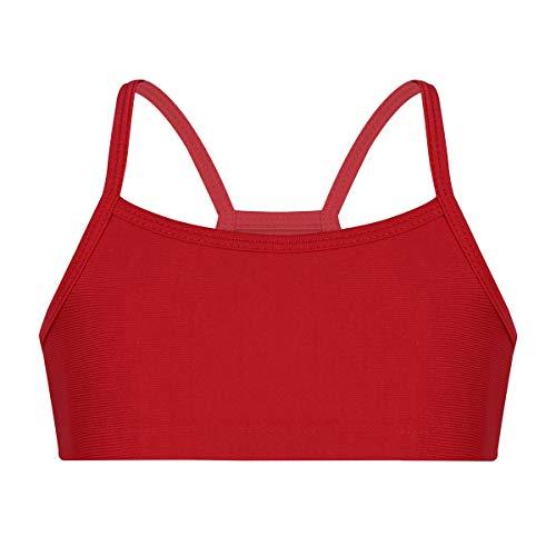 iiniim Kinder Mädchen Sport BH Crop Top Bustier Elastisches Unterhemd Gym Yoga Fitness Sport Bra Unterwäsche Gr.98-152 Rot 122-128/7-8Jahre