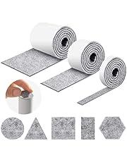 Viltglijders, zelfklevend, 3 rollen, zelfklevende viltglijders (100 x 10 cm + 100 x 5 cm + 100 x 2 cm), snijdt elke vorm, vilt voor meubelrollen, viltglijders zelfklevend, voor vloerbescherming