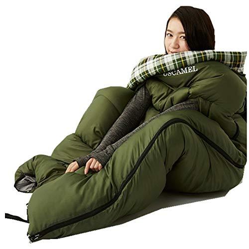 CTEGOOD Sacco a Pelo Adulto 4 Stagioni Viaggio all'aperto Freddo Inverno Cotone Spessore Caldo Portatile Campeggio Interno Singologreen-2kg