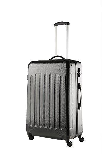 TravelZ Leichtgewicht ABS Koffer | Reisetrolley mit Schlosser | 4 räder (schwarz, L-76cm)
