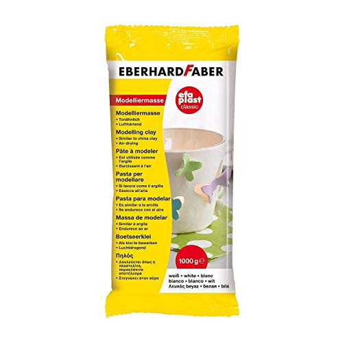 Eberhard Faber 570101 - Modelliermasse EFAPlast classic, 1 kg, weiß, lufthärtend, tonähnlich, kreatives Bastelvergnügen für kleine und große Künstler
