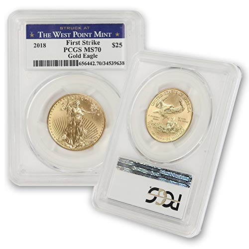 2018 1/2 oz Gold American Eagle MS-70 (First Strike – Struck at The West Point Mint) by CoinFolio $25 MS70 PCGS