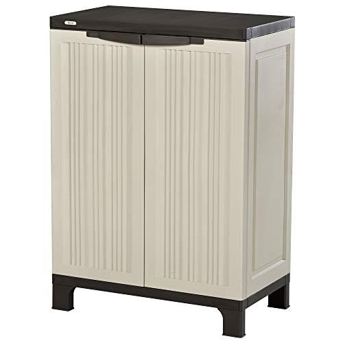 Outsunny Plastic Utility Cabinet Garden Tool Shed Patio Double Door Storage Closet Adjustable Shelves Beige