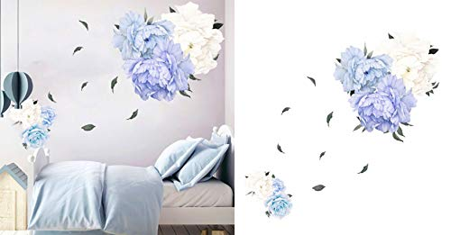 Pegatinas de Pared Peonía Pegatinas de Pared Flores Etiqueta de Pared Flor Decoración Peonía (azul)