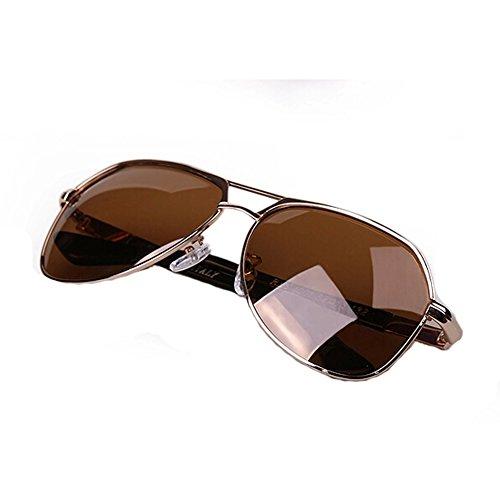Style Classique Aviator Lunettes de soleil en métal Cadre coloré objectif protection UV, Marron