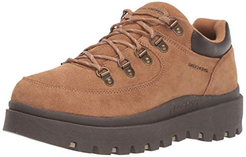 Skechers Women's SHINDIGS-Stompin' -Rugged Heritage Style 5-Eye Suede Shoe-Boot Oxford, Tan, 8.5 M US