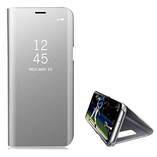 Hancda Coque pour Xiaomi Mi A2, Housse Coque Etui Flip Case Miroir Plastique Rigide Dure Étui Rigide avec Fonction Support Cuir Antichoc Protection Cover pour Xiaomi Mi A2,Argent