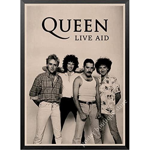 ZzSTX Queen Band Musik Leinwand Poster Druckt Freddie Mercury Brian May Vintage Leinwand Bild Dekorative Malerei Wandplakat50X70Cm Ungerahmt