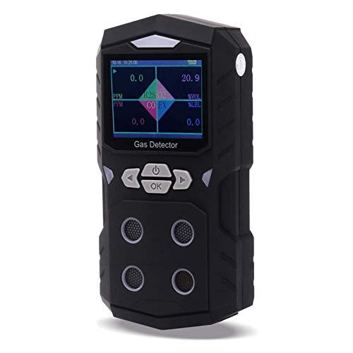 4 Gasdetektor, Gasprüfgerät, tragbares Multi-Gasdetektor-Monitor-Farbdisplay mit grafischer Grafik-Schalllichtalarm 4-in-1-Gasanalysator (schwarz)