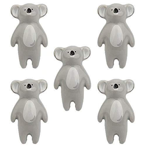 FBSHOP(TM) 5 Stück Cartoon Tier Knöpfe Kabinett Griffe Möbelknöpfe Möbelknäufe Türgriff-Sets Keramik Möbelknopf Möbelgriff Schrankgriffe,Koala