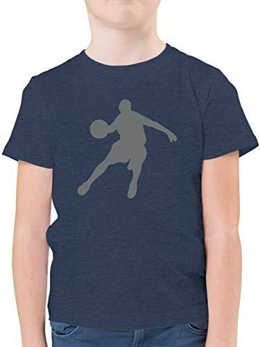 Sport Kind - Basketballspieler - 164 (14/15 Jahre) - Dunkelblau Meliert - t Short Jungs - F130K - Kinder Tshirts und T-Shirt für Jungen