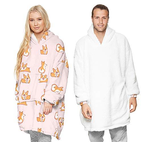 Sudadera con capucha para mujeres y hombres de gran tamaño de dibujos animados con capucha y bolsillo frontal cálido