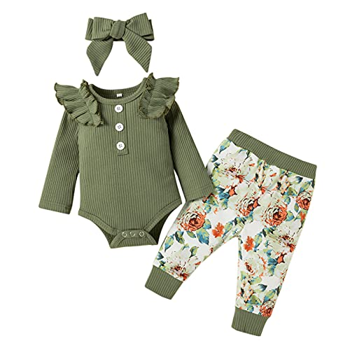 YWLINK 3 Piezas Ropa de Bebé Conjunto Mameluco de Manga Larga Pantalones Largos Diadema Traje para Recién Nacida Mono de Cuerpo para Niñas Pequeñas