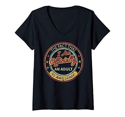 Mujer Regalos para niños de 18 años oficialmente adultos es Camiseta Cuello V
