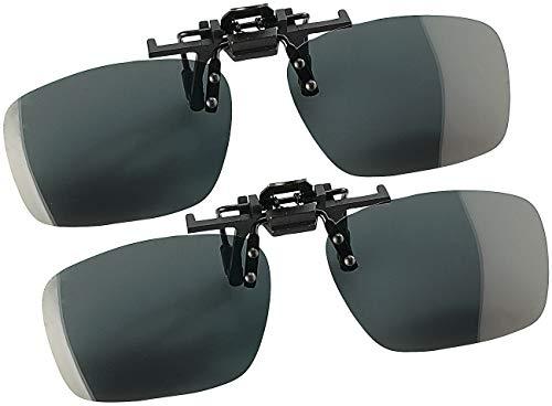 Speeron Brillenclip: 2er-Set Sonnenbrillen-Clips Fashion für Brillenträger, polarisiert (Sonnenbrille Clip)
