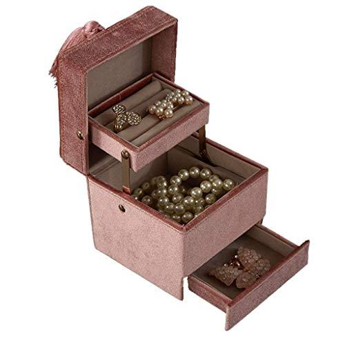 WOZUIMEI Organizador de Caja de Joyería Flocado Caja de Almacenamiento de Joyería Caja de Almacenamiento de Gran Capacidad de 3 Capas para Collares Anillos Pendientes Caja de Baratija