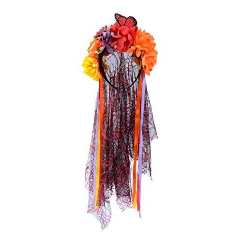 chaochao Accesorios para Cabello de Halloween Velo Novia Negro Diadema Floral de Fiesta Corona Floral Disfraz de Halloween Tocado Mexicano para Mujer Niña (Naranja, 8-9 Pulgadas)