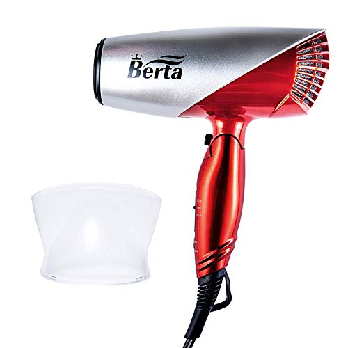 1875W Professional Compact Hair Dryer, Berta Dual Voltage Blow Dryer,Light Weight Low Noise DC Motor Blow Hair Dryers with Folding Handle