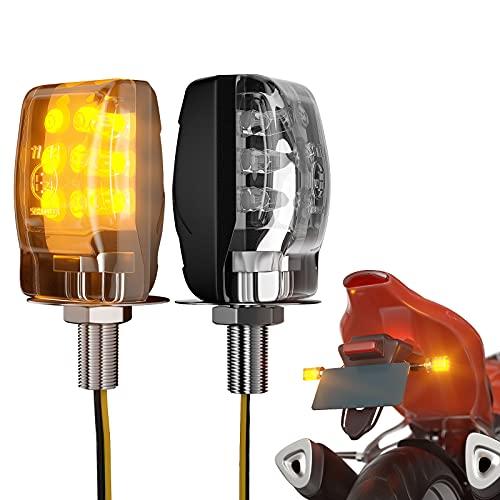 CCAUTOVIE Moto Intermitentes Led Indicador Lampa - Indicadores Universal Motos Luz Indicadora Luces Negro Dirección Indicador 12v Mini Motocicleta Intermitente Lámpara 2 Piezas