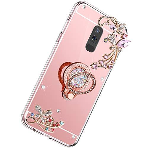Herbests Cover Case Compatibile con Samsung Galaxy J8 2018 Mirror Custodia Silicone Diamante Glitter Bling Cover con Supporto Anello Custodia Flessibile Gomma Morbida Silicone Case,Oro Rosa