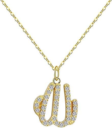 BACKZY MXJP Collar Dorado con Colgante Musulmán para Mujer, Islam Religioso, Alá, Joyería Árabe, Collar Persa, Collar Vintage, Regalo