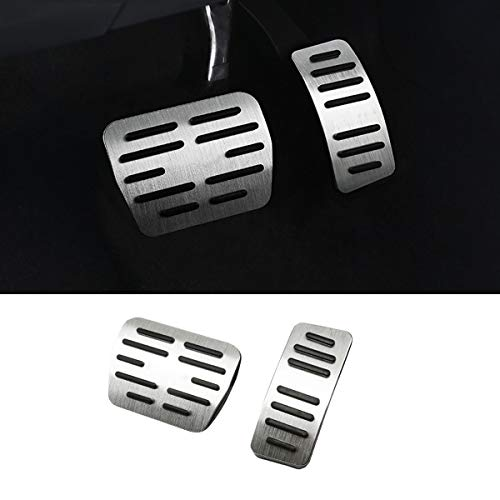 TTCR-II Pedal Covers for Volkswagen Arteon Atlas Golf GTI Jetta Tiguan and for Audi A3, No Drill Anti-Slip Aluminum-Alloy Brake and Gas Pedal Pad (Automatic Transmission, 2 Sets)
