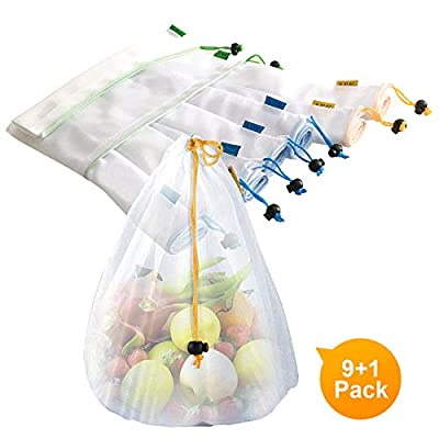Sfee 9 Pack Reusable Produce Bags and Grocery Shopping Bags, Eco Friendly Lightweight Washable See Through Mesh Produce Bags with Drawstring Tare Weight Tags for Fruit, Vegetable, Fridge, Toys