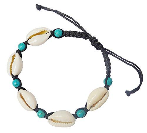 Bijoux De Ja BDJ Handwoven Turquoise-blue Beads Cowrie Shell Wax Cord Bracelet Anklet 8.5-11 Inches