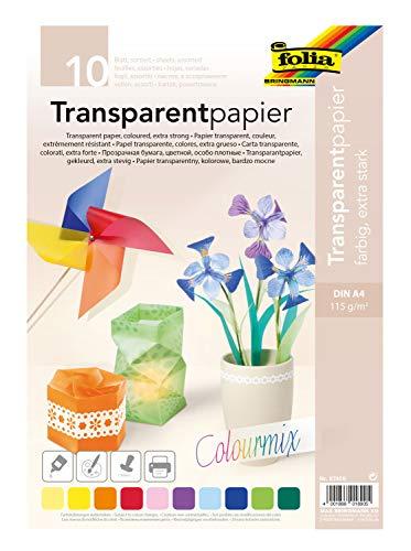 folia 87409 - Transparentpapier, farbig sortiert, DIN A4, 10 Blatt, 115 g/qm - ideal zum Basteln, für Fensterbilder, Windlichter