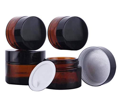 KingYH 4 Pieza 20ml 30ml Tarros de Cristal de Ámbar con Tapa Interior Vacía Crema Rellenables Botella de Pot Recipiente para Salve Crema Facial Loción Aromaterapia Mezclas Biberó Marrón