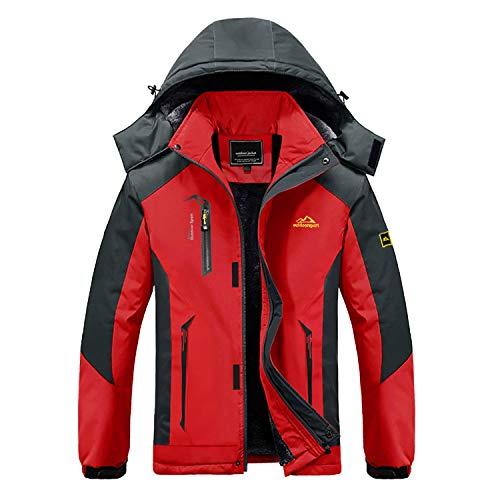 MAGCOMSEN Herren Wanderjacke Fleece Outdoorjacke Warm Winterjacke für Herren Übergangsjacke Atmungsaktiv Windjacke Softshell Jacke für Camping Ski Sport Rot 3XL