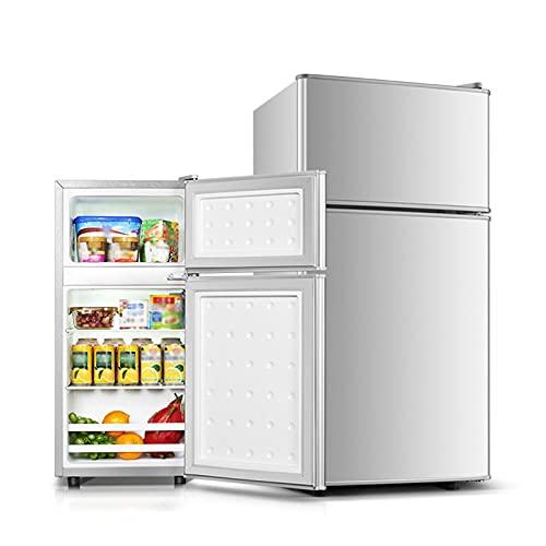 QINGZHUO Mini Nevera Silenciosa,(118L, 60L),Plateado,refrigerador con Congelador Independiente De 2 Puertas,Ideal para Cocina,Dormitorio O Área De Oficina.