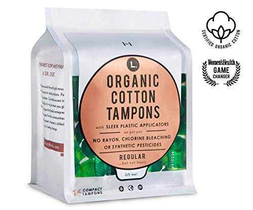 L. Organic Cotton Tampons with BPA-Free Applicators, Regular Absorbency, 48 Count
