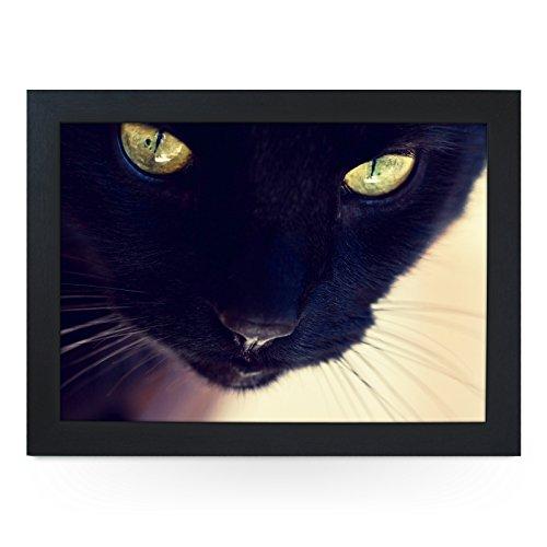 Portable Lap Desk Tray (Black Cat) Handmade Wooden Frame, Beanbag Cushioned Bottom | Computers, Laptops, Meals, Food | L0017 Black