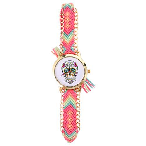 NICERIO Relojes de Mujer Reloj Tejido Estilo Étnico Reloj de Pulsera de Calavera de Halloween Reloj de Pulsera de Cuarzo para Mujer Reloj Decoración para Damas Niñas