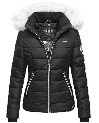 Navahoo warme Damen Winter Jacke Stepp Kurzjacke gefüttert B810 [B810-Khing-Schwarz-Gr.M]