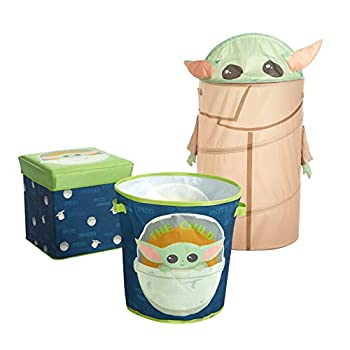 Idea Nuova Star Wars  The Mandalorian The Child 3 Piece Collapsible Storage Set with Collapsible Ottoman Bin and Figural Dome Pop Up Hamper  WK330485