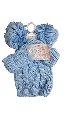 Ensemble bonnet et moufles à pompon en tricot torsadé doux au toucher pour bébé Unisexe - Bleu -
