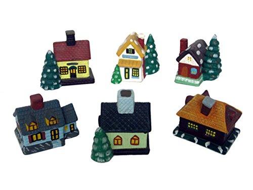 Discount Etnico - Casette Natalizie in Ceramica Set da 6 Misura 7 x 7 cm