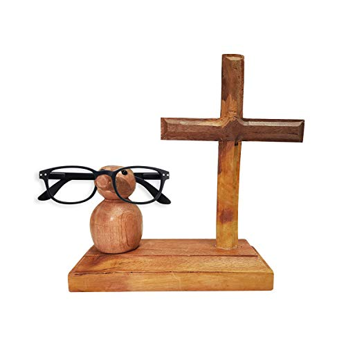 Whopper Dekorativer niedlicher Brillenhalter aus Holz für Brillen und Wände, Heimdekoration, Ständer, Schreibtisch-Dekoration