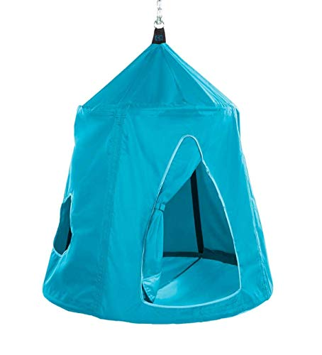 HearthSong Go! Hangout HugglePod Hanging Tent with LED Lights and Go! Hangout Hanger, Sturdy Cotton Canvas, 54' H x 45' W, Holds Up to 250 lbs.- Sky Blue