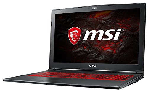 MSI GV62 7RE-2275DE (39,6 cm/15,6 Zoll) Gaming-Laptop (Intel Core i7-7700HQ, 8GB RAM, 256 GB SSD + 1 TB HDD, Nvidia GeForce GTX 1050Ti mit 4GB, Windows 10 Home) Schwarz/Grau-Anthrazit