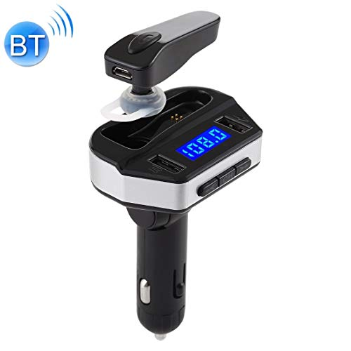 V6 2 en 1 doble puertos USB cargador de coche y V4.2 auricular de Bluetooth Headset, Soporte manos libres de llamadas (Negro) Alta calidad (Color : Black)