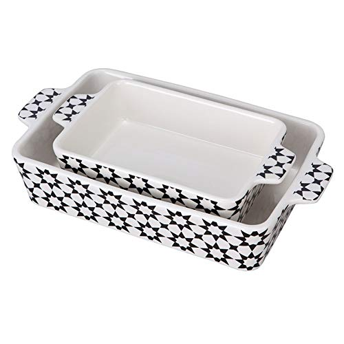 Bakeware Set,SIDUCAL 2 PCS Ceramic Baking Dish Set,Rectangular Serving Bakeware with Heat-Resistant,14x8 Inches,Black