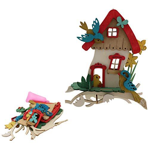 Kuhnert Bastelset Kreativ Set Bastelspass Haus mit Vögeln zum selber Zusammenbauen Fensterschmuck 17 x 5 x 20 cm Osterbasteln